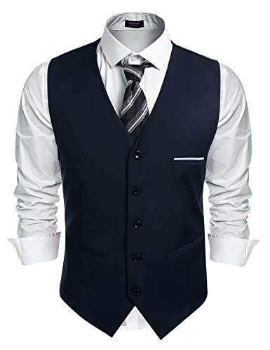 Burlady Herren Western Weste Herren Anzug Weste V-Ausschnitt Ärmellose Westen Slim Fit Anzug Business Hochzeit, Navy, L