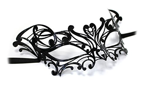 Unbespielt Original Venezianische Maske Damen Metallmaske NINFA Handarbeit schwarz
