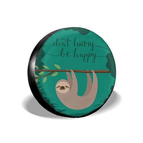 Yaxinduobao Cubierta de neumático de Repuesto Green Happy Sloth, Cubierta Universal para neumáticos de Rueda, Protectores de neumáticos a Prueba de Polvo a Prueba de Agua 14 15 16 17 Pulgadas