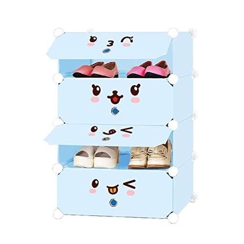 Zapatero, Zapatillas a prueba de polvo Gabinete de zapatos de 4 niveles, ahorro de espacio para zapatos de 12 pares unidades de zapato de plástico con puertas, almacenamiento de cubo modular, ideal pa
