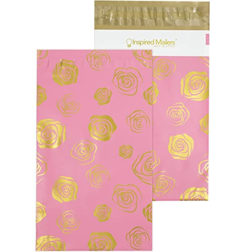 Inspired Mailers - Poly Mailers 6x9-100 Pack - Gold Roses Deluxe - Small Shipping Bags - 6x9 Polymailers - 6x9 Poly Bags for Shipping - Poly Shipping Bags 6x9 Mailers