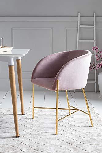 SalesFever Polsterstuhl Sjard in Rose   Esszimmer-Stuhl in Samt-Optik mit Armlehnen   Gestell Messing-Farben   Sitz- und Rückenpolsterung