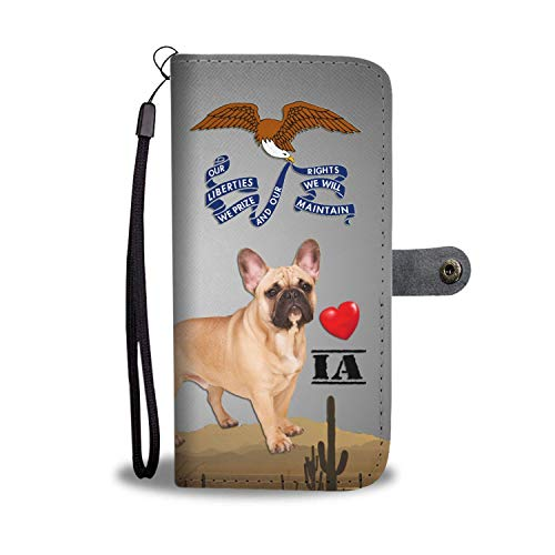 Lovely French Bulldog Printed Leather Wallet Case for Samsung, iPhone, LG, Goole Pixel, Huawei, HTC, Motorola, Xiaomi- Dog Printed Magnetic flip Cover with Card Slots Wrist Strap - LOWA State