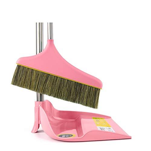 Haushaltsstaubtöpfe Set Kreative Edelstahl PP Material Reinigungswerkzeuge Borsten Weiches Haar Besen (Color : Pink)
