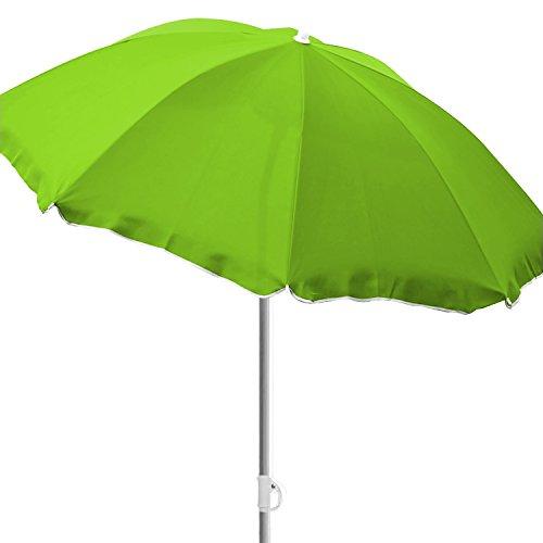 Mojawo Strandschirm Sonnenschirm Strand Schirm Sonnenschutz Gartenschirm Sonnenschutz knickbar Polyester Lime grün Ø1,80m UV Schutz