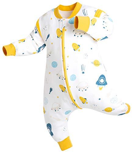 Chilsuessy Baby Ganzejahres Schlafsack mit Füßen, 1.5 Tog Doppelschicht 100% Bio Baumwolle,Kleine Kinder Schlafsack mit Beinen,Mit Abnehmbare Ärmel, Raumschiff, 100/Baby Höhe 110-120cm