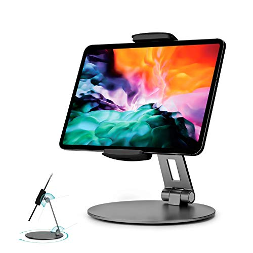"""Stouchi iPad Pro 12.9 Stand, 360°Tablet Swivel Base Stand Tablet Holder Stand for iPad, Adjustable Desk Mount Holder for POS Kiosk, Surface Pro 4, 2020 iPad Pro iPad Mini fits 4-14"""" Tablets Grey"""