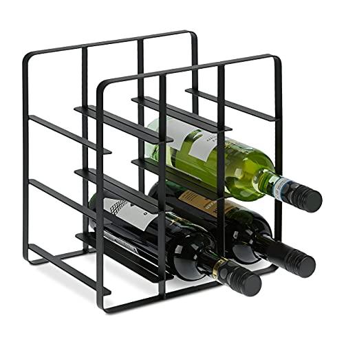 Relaxdays Botellero de Metal para 9 Botellas, Soporte para Vino, 30,5 x 27,5 x 20 cm, para Cocina y salón, Color Negro