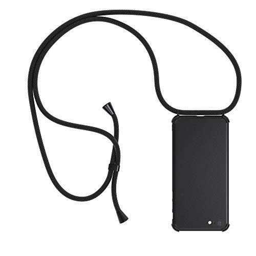 EAZY CASE Handykette kompatibel mit Apple iPhone 8/7 SE (2020) Handyhülle mit Umhängeband, Handykordel mit Schutzhülle, Silikonhülle, Hülle mit Band, Stylische Kette, Full Color Schwarz