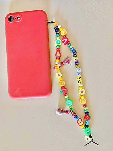 Phone strap charm Kiwi, catenella telefono personalizzato con nome e realizzato a mano adattabile a qualsiasi cellulare, macchina fotografica o badge