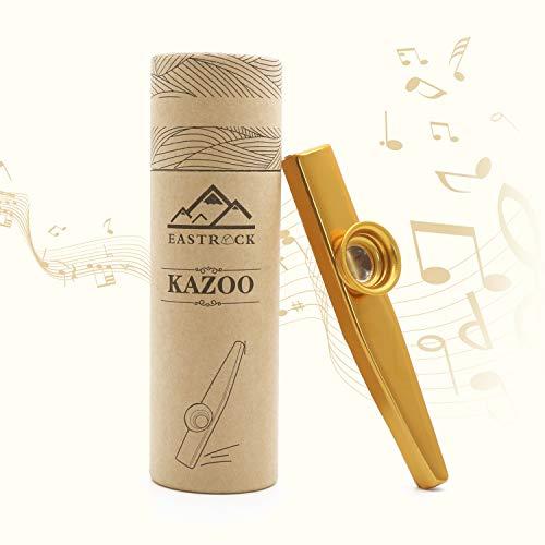 EastRock Kazoo Kazoos Gouden Aluminium met 4 Membraan Fluit Diafragma Mond en Doos als cadeau voor kinderen