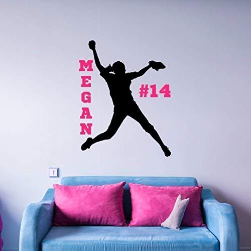 Personalized Softball Pitcher Sticker, Girls Softball Wall Decals, Softball Gifts for Teen Girls