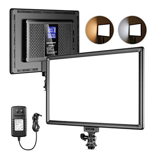 Neewer Ultra-Fino 192 LED Panel de Luz de Video con Pantalla LCD Batería de Litio Incorporada Regulable Bicolor 3200K-5600K CRI 95+ Iluminación Más Suave para Retratos