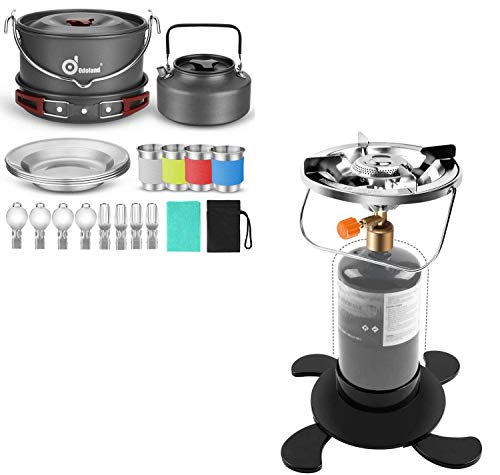 Odoland Bundle – 2 Items 22pcs Camping Cookware Mess Kit and Propane Camping Stove with Fuel Can Stabilizer, Portable Bottle Top Gas Stove
