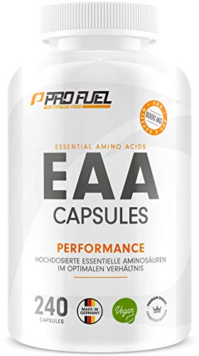 EAA Kapseln hochdosiert 240 Giga Caps mit je 1000 mg EAA (vegan) - Optimiertes Multi-Amino EAA-Pattern (Human Code-Profil) - Ohne Zusatzstoffe - Made in Germany - 100% vegan - ProFuel