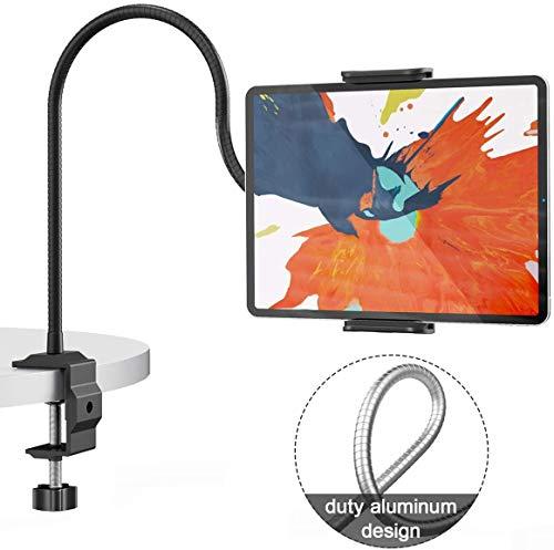 Enllonish Tablet Halter, Schwanenhals Tablet Halterung : 360° Drehen Universal Ständer für iPad Mini 2 3 4, Neu Pad Pro 2019, Pad Air, Phone, und Weitere 4,7-10,5 Zoll Geräte - Schwarz