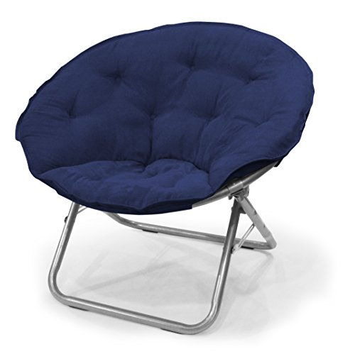 Urban Shop Micro Suede Saucer Chair, Adult, Navy