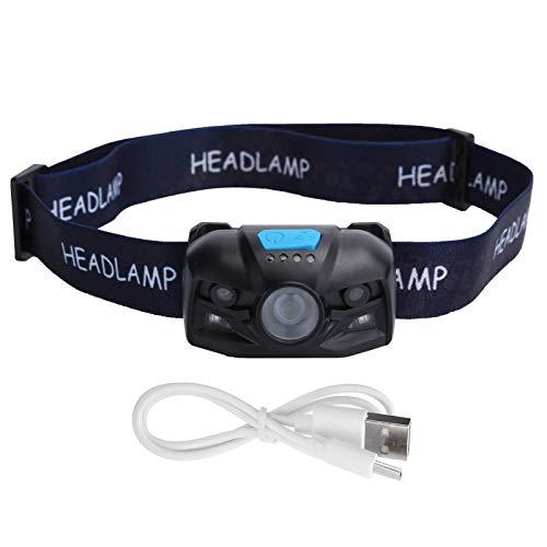 Linterna frontal para exteriores, portátil ergonómica 500lm IPX65 Impermeable USB recargable Linterna frontal inteligente para montañismo para pesca para camping para senderismo