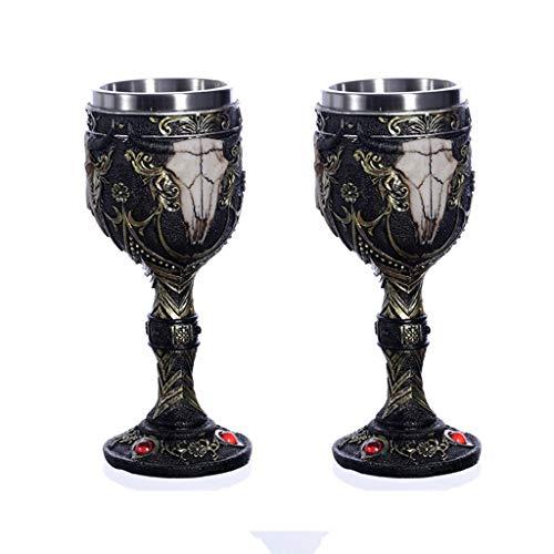 TOHOYOK Cabeza de Toro Creativo Retro Vino Tinto Copa de Vidrio Coctel Cristal de Vidrio champán Resina 3D con Forro de Acero Inoxidable, 18.5cm, 2 Paquetes, Negro, un tamaño
