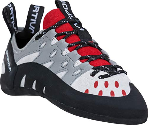 La Sportiva Women's Tarantulace Rock Climbing Shoes, Grey/Hibiscus, 40