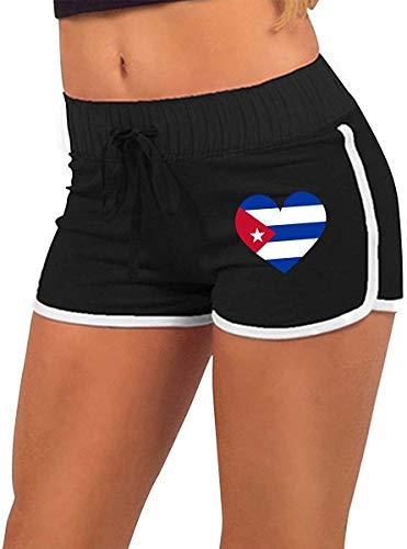 longing-été Femmes alluringy Mini Shorts Cuba Grand Coeur Drapeau Torse Silhouette Sport Athlétique Pantalon d'exercice - Noir - Small