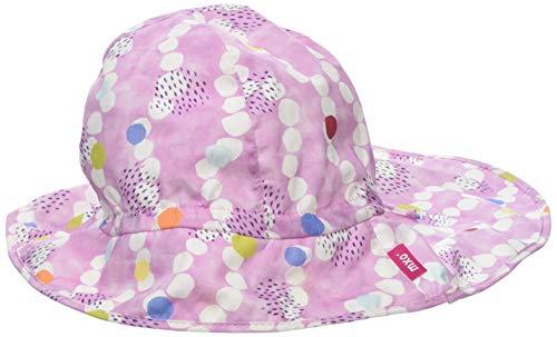 maximo Mädchen Flapper, Nackenschutz Mütze, Mehrfarbig (Mandelblüte-Weiß-Punkte 33), 53