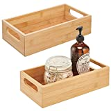 mDesign Deep Bamboo Wood Storage Bin with Handles for Organizing Hand Soaps, Body Wash, Shampoos, Lotion, Conditioners, Hand Towels, Hair Accessories, Body Spray, Mouthwash - 2 Pack - Natural