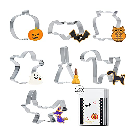 7PCS Halloween Cookie Cutters Stainless Steel Large Cookie Cutter for Baking cookies-Pumpkin, Bat, Ghost, Cat Broom,Owl and Witch Hat Shapes Trick or Treat Supplies with 50 cookie bags