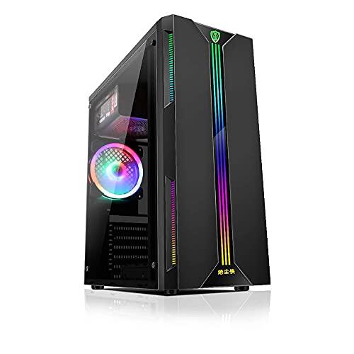 IKAYAAA Carcasa para computadora de Escritorio ATX Lateral de Vista Completa RGB Transparente Carcasa para PC Soporte ATX/Micro ATX/Mini Ventilador de enfriamiento ITX/Tarjeta gráfica de 330 mm