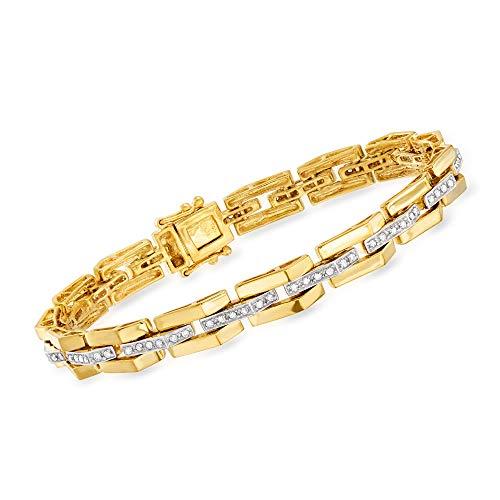 Ross-Simons 0.57 ct. t.w. Diamond Link Bar-Center Bracelet in 18kt Gold Over Sterling. 7 inches
