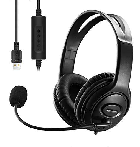 USB-Headset mit Mikrofon und Geräuschunterdrückung und Audio-Steuerung, USB-PC-Kopfhörer, super leicht und bequem für Geschäftskonferenzen, Telefongespräche, Online-Unterricht, Skype etc (Black)