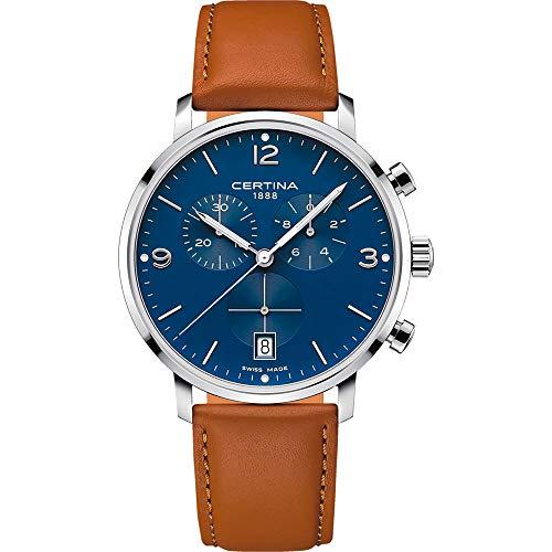 Reloj Certina DS CAIMANO C035.417.16.047.00 con Esfera Azul y Correa de Cuero Marron