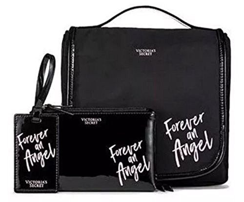 Victoria's Secret FOREVER AN ANGEL 3 piece Set Black Hanging Travel Case, Zip Pouch & Luggage Tag
