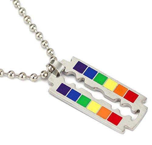 GuDeKe Regenbogen Homosexuell Lesben LGBT Stolz Rasierklingen Halskette Anhänger mit 50cm Kette Für Männer Frauen