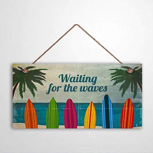 Free Brand Cartel de surf con texto en inglés 'Waiting for the Waves' para colgar tablas de surf de madera, placa de pared de playa, decoración de pared, estilo vintage con texto en inglés