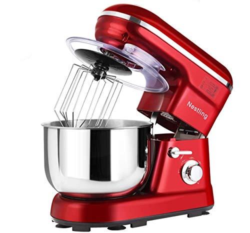 Nestling® Küchenmaschine leistungsstarke Knetmaschine Geräuscharm 1200W (5-Geschwindigkeit 5 Liter Edelstahl) Spritzschutz, Inklusive Quirl, Knethaken & Schneebesen (Rot)
