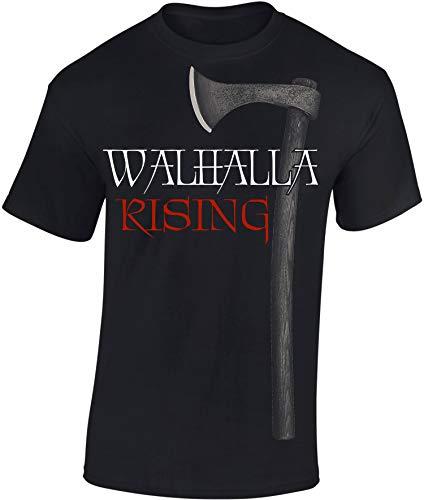 Baddery T-Shirt: Walhalla Rising - Wikinger Shirt für Herren Damen Mann Männer Frau-en - Viking-s - Norwegen Norway - Wotan - Odin - Nordmänner Norseman - Valhalla - Götter - Geschenk Idee (XL)