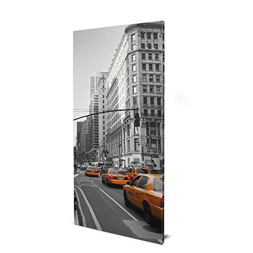 banjado Design Magnettafel groß | Magnetwand Silber 78x37cm Silber | Pinnwand magnetisch mit Magneten und Montageset | Magnetpinnwand mit Motiv New York Taxi