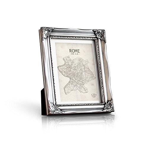 Rococo by Casa Chic AntikBilderrahmen 13x18 cm - Glasfront - mit Passepartout für 10x15 Fotos - 3 cm Rahmenbreite - Rokoko Baroque Style - Antik Silber