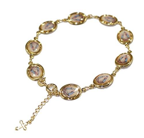Diamantados of Florida Caridad del Cobre Charm chapado en oro de 18 quilates, pulsera con medalla ovalada Yoruba
