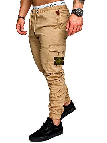 TAO Pantalones cargo de los hombres de cintura elástica chándal pantalones de chándal pantalones casuales