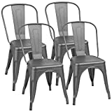 Furmax Metal Dining Chair Indoor-Outdoor Use Stackable Classic Trattoria Chair Chic Dining Bistro Cafe Side Metal Chairs Set of 4 (Black)