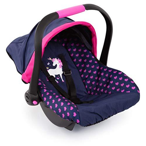 Bayer Design 67954AA Puppen-Autositz EasyGo, Puppenzubehör, passend zu Vario-Puppenwagen, mit Abdeckung, blau mit Herzenmuster und Einhornmotiv