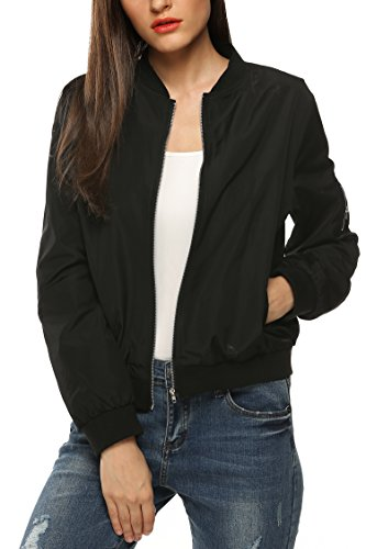 Zeagoo Womens Classic Quilted Jacket Short Bomber Jacket Coat, Black, Medium
