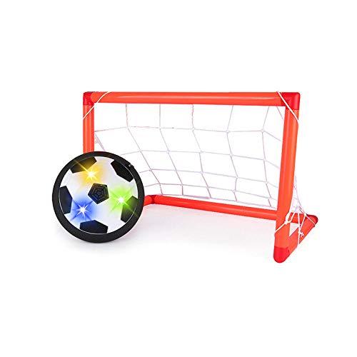 PUJING Niños Deportes Juguete Suspensión Balón de fútbol Cojín de Aire Espuma Flotante Fútbol Luz LED Música Música Juguetes de Deslizamiento Juguetes de fútbol Regalos para niños-Negro