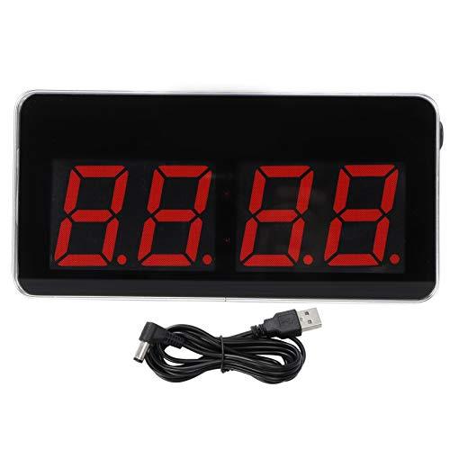 Reloj de Pared LED, Reloj de Pantalla Digital Reloj Rectangular de Pantalla Grande Transparente con Interfaz USB Carga para Sala de Estar Dormitorio Letra roja 5V