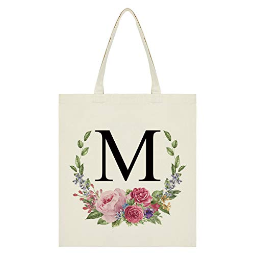 Personalized Tote Bag Floral Initial Canvas Tote Bag Bridesmaids Bags for Women, Monogram Bag for Bridesmaids Wedding Bachelorette Party (Letter M)