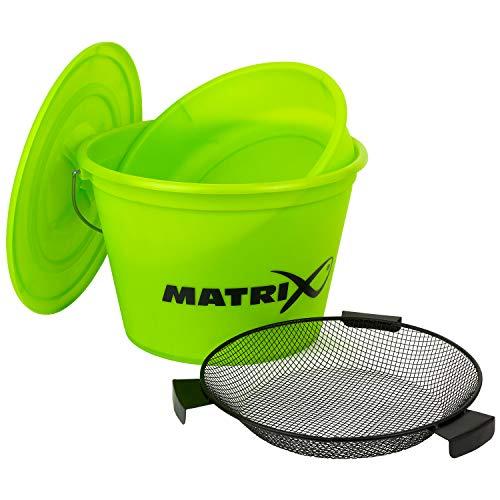 Fox Matrix Lime Bucket Set - Ködereimer für Grundfutter zum Stippangeln & Feederangeln, Eimer für Futter zum Stippen & Feedern