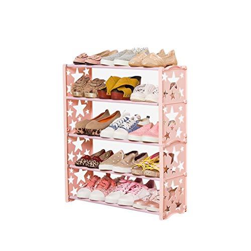 Yyqx Zapatera Estantes de Zapatos de plástico de 5 Niveles Gabinetes para Zapatos Organizador de Almacenamiento Permanente para estantes para Hombres y Mujeres Zapatero (Color : Pink)