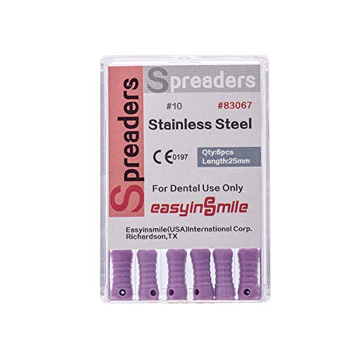 Easyinsmile Dental Endodontic Opener Root Canal Spreaders File Hand Use Files Stainless Steel 25MM 5 Pack (10#)